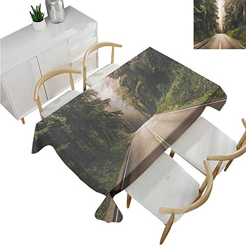 familytaste Adventure,Table Covers,Straight Highway in Northern California United States Nature Photography,Rectangular Polyester Tablecloth 60