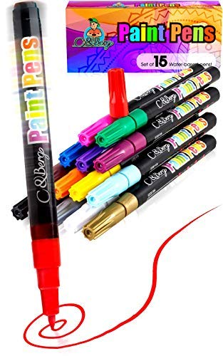 15 Paint Pens - Paint Marker Pens, Water Based Colors for Kids, Adults, Sun, Water Resistant Fine Point, Paint on Rock, Wood, Glass, Ceramic, Metal, Clothes, Skin - Almost All -
