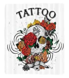 Chaoran 1 Fleece Blanket on Amazon Super Silky Soft All Season Super Plush Skulls Decorations Collectionkull Blossoms Butterflies Christian Religious Celebration Vacation Image Fabric et Red