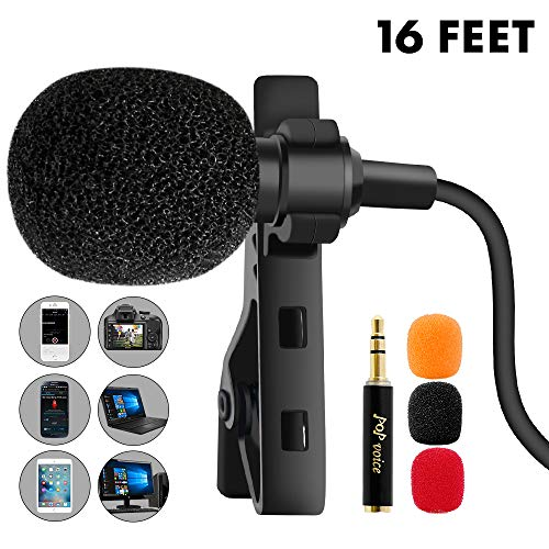(PoP voice 16 Feet Single Head Lavalier Lapel Microphone Omnidirectional Condenser Mic for Apple iPhone Android & Windows Smartphones, YouTube, Interview, Studio, Video Recording, Noise Cancelling Mic)