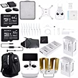 DJI Phantom 4 Pro Plus ULTIMATE Drone Kit + Sony 32GB Card + Sony 64GB Card + Phantom 4 Series - Intelligent Flight Battery (5870mAh, High Capacity) + Cloth + DJI Car Charger + Card Reader Bundle