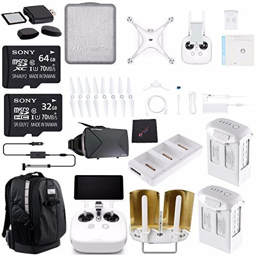 DJI Phantom 4 Pro Plus ULTIMATE Drone Kit + Sony 32GB Card + Sony 64GB Card + Phantom 4 Series - Intelligent Flight Battery (5870mAh, High Capacity) + Cloth + DJI Car Charger + Card Reader Bundle by ElectronicsBasket
