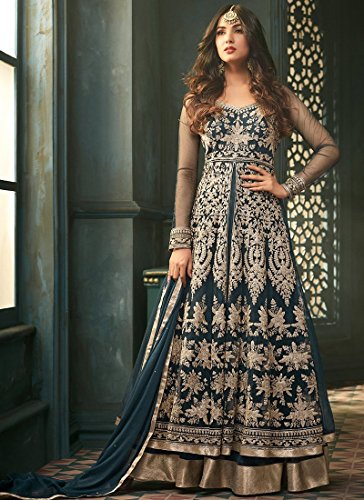 (stylishfashion Latest Embroidered and with Beautiful Stone Work Anarkali Designer Salwar Kameez)