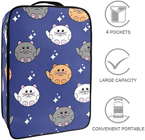 MYSTAGE シューズバッグ 靴箱 猫柄 猫 可愛い シューズケース シューズ袋 旅行収納ポーチ 二層式 靴入れ 小物収納 収納ケース アウドドア 出張 旅行