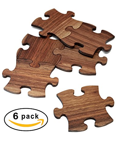 Mr.ArtWood Wooden Puzzle Drink Coasters (Set of 6), 100% Natural One-Piece Walnut Wood, Ultimate Protection for Furniture - Easy Assembly into One Big Coaster For Large Items