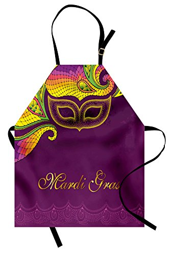 Ambesonne Mardi Gras Apron, Colorful Lace Style Corner Ornaments Calligraphy and Dotted Mask Design, Unisex Kitchen Bib Apron with Adjustable Neck for Cooking Baking Gardening, Purple Yellow Green