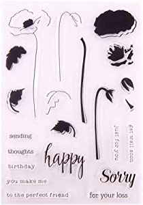 Layered Poppy DIY Floral Poppies Happy birthday get well soon Sentiment Clear Stamps for Card Making Decoration and DIY Scrapbooking