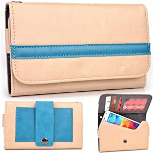 EXXIST® Graphite Series. Faux Leather Clutch / Wallet for LG Nexus 4 E960 (Color: Beige / Baby Blue Stripe) -ESMLGPN3
