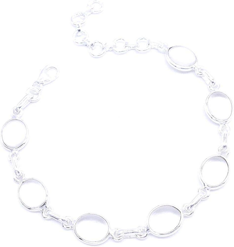 ARITZI - Pulsera de plata de ley & piedras semipreciosas con cadena de extensión