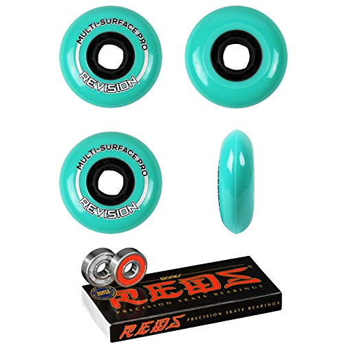 Revision Wheels Inline Roller Hockey Multi Surface 76mm 84A 4-Pack with Bones Bearings