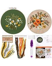 FEPITO Borduurstartpakket met patroon en instructies borduurpakket inclusief borduurkleding met bloemmotief, plastic borduurringen, naaldenset met gekleurd garen