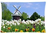 "The Dutch Wind Mills and Tulips Custom Rectangle Pillow Cases 20""x30"" (one side)"