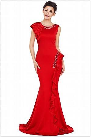 Vestido de Fiesta de Color Puro Cuello Redondo sin Mangas Asimétrico Doblado con Flecos Vestido ,
