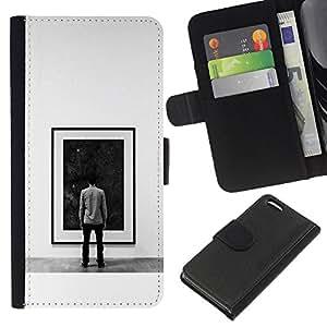 LECELL--Cuero de la tarjeta la carpeta del tirón Smartphone Slots Protección Holder For Apple Iphone 5C -- Pintura Espacio Profundo --