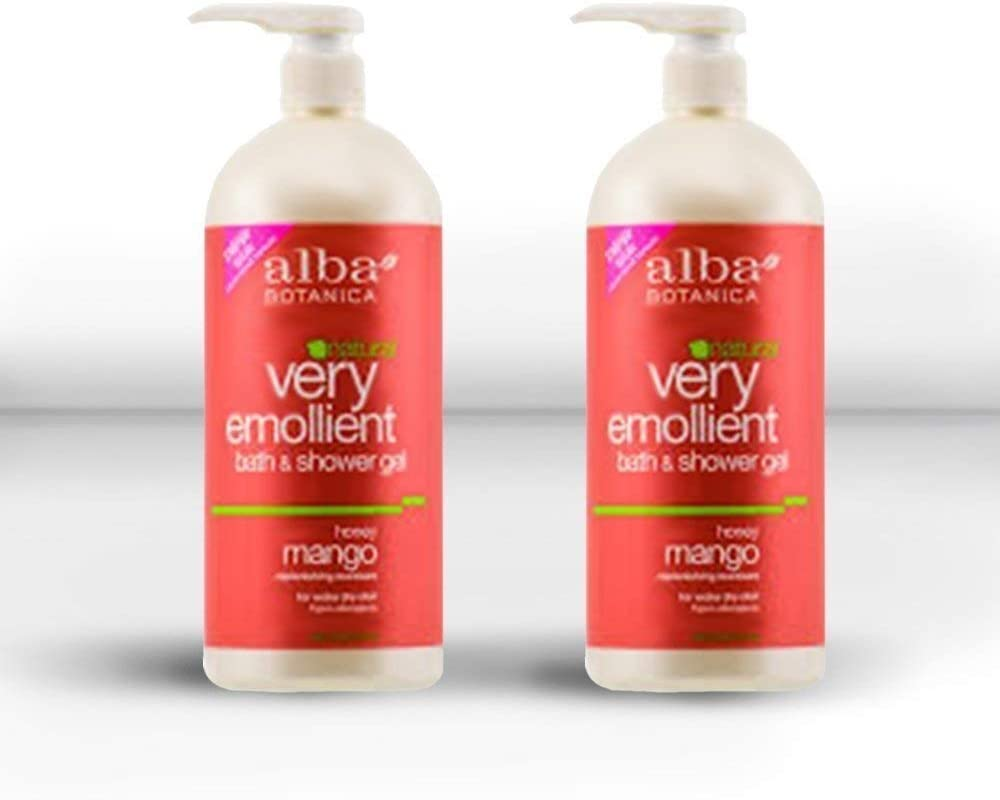 Alba Botanica Very Emollient Bath & Shower Gel, Honey Mango, 2 Pack (32oz)