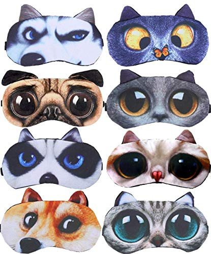 8 Pack Cute Animal Funny Sleep Eye Mask for Sleeping Cat Dog Soft Plush Blindfold Sleep Masks Eye Cover Eyeshade for Kids Girls Men Women Plane Travel Nap Night Sleeping (8 Pack)