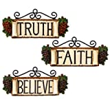 grapes wall clock - Grasslands Road In Vino Veritas Resin Believe, Truth, Faith Plaque, 6-Inch, Set of 6