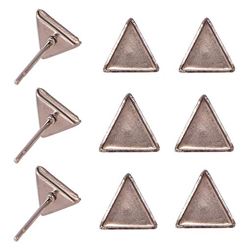 PH PandaHall 50 Pairs Stainless Steel Earring Post Cup Triangle Cabochon Earring Settings Stud Earring Findings for Jewelry Making ()