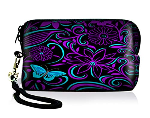 AUPET Purple Blue Flowers Digital Camera Case Bag Pouch Coin Purse with Strap For Sony Samsung Nikon Canon Kodak