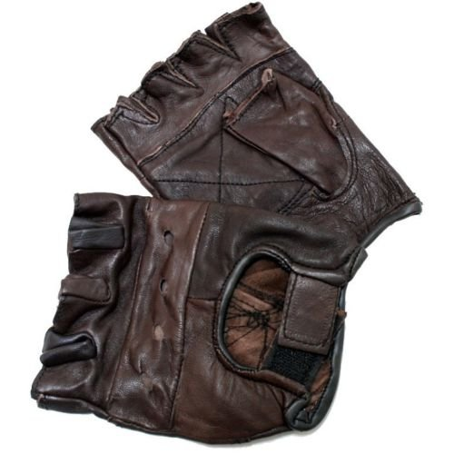Price comparison product image AiUIXi1991-MENS BROWN LEATHER FINGER LESS DRIVING MOTORCYCLE BIKER GLOVES Work Out Exercise