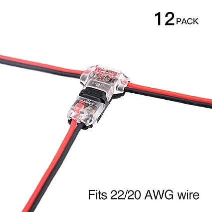 Conectores - Pack de 12 baja tensión T tap conectores T tipo Pin 2 sin soldadura