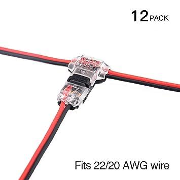 Conectores - Pack de 12 baja tensión T tap conectores T tipo Pin 2 sin soldadura con ...