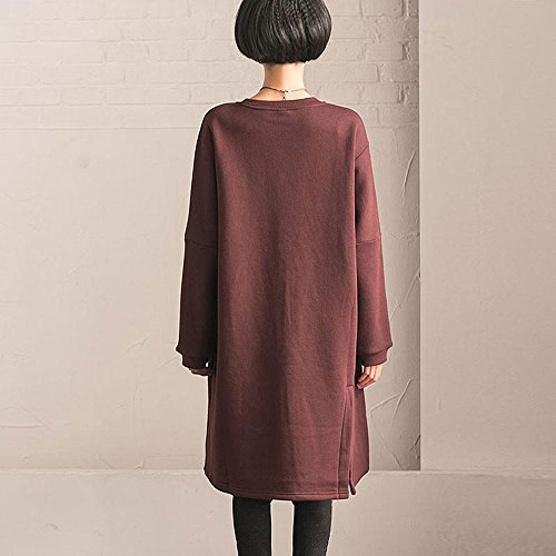 s Large BUYKUD Red Casual Women Sleeve Cotton Loose Dress Size Long Wine w8qxpa8