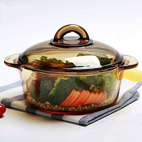 CJTMY Verre marmite à Soupe Hotpot Batterie de Cuisine Ragoût Lait Pot Double Cuisine Cuisson Chaudières à gaz Cuisinière à Induction Marmite Casserole