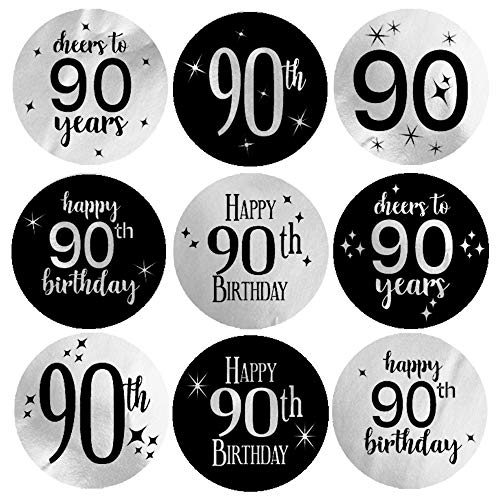 Black and Silver Cheers to 90 Years Candy Stickers
