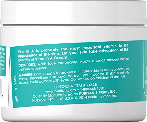 Puritan's Pride Retinol Cream (Vitamin A 100,000 IU Per Ounce) 8 oz Cream