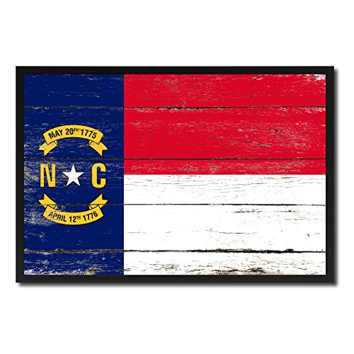 North Carolina State Flag Canvas Print, Black Picture Frame Gift Ideas Home Decor Wall Art Decoration