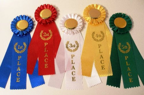 Rosette Award Ribbon Set - One each: 1st, 2nd, 3rd,