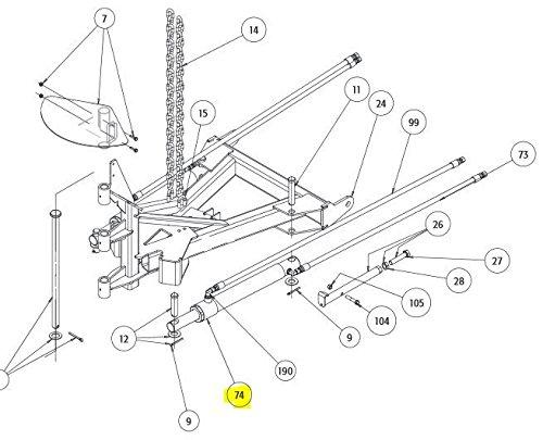 SnowDogg Part # 16154300 CYLINDER ANGLE 1-1/2 X 1-3/4 X 12 DA VX by SnowDogg