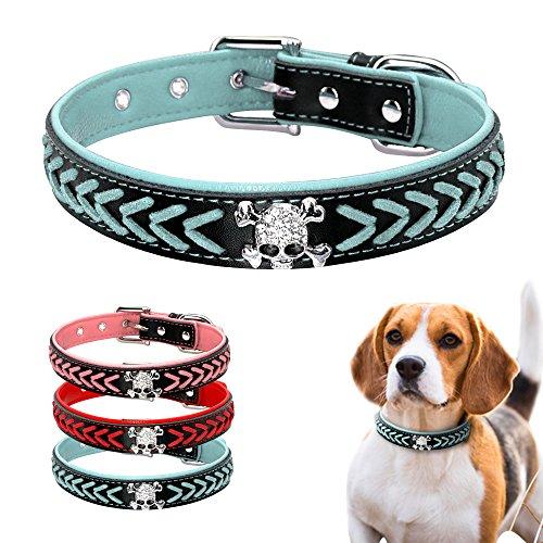 Beirui Braided Leather Dog Collars - Soft Padded Dog Collars- Fashion Skull Studded fits Small Medium Large Pet Breeds ()