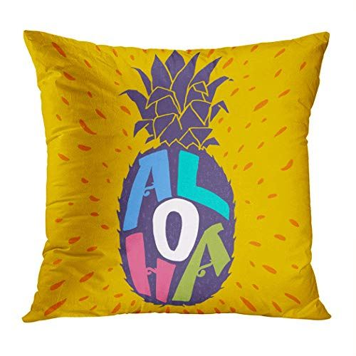 Ortrial Throw Pillow Cover Print Polyester Aloha Hand Lettering Pineapple Silhouette Fun Decorative Sofa Bedroom Hidden Zipper Pillowcase Patio Outdoor 20 x 20 Inches (Grenadier Natural Light)