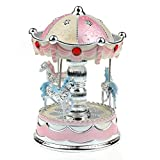 TANGON Boutique 3-horse Carousel Music Box Light Up (Pale Dogwood)