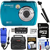 Polaroid iS048 Waterproof Digital Camera (Teal) 32GB Card + Case + Selfie Stick + Float Strap + Kit