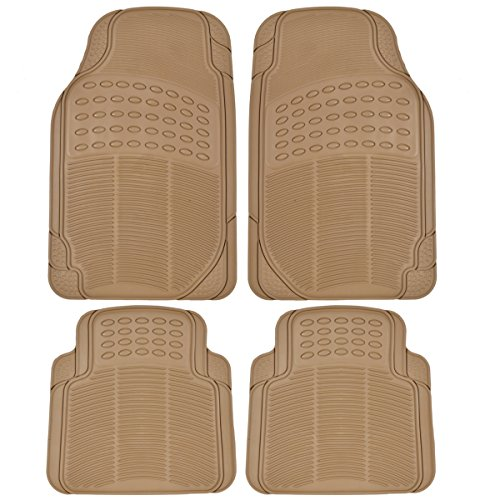 Beige Rear Mat - Heavy Duty 4pc Front & Rear Rubber Mats - All Weather Protection - Car Truck SUV - Beige