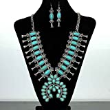 Turquoise Silver Southwest Squash Blossom Necklace