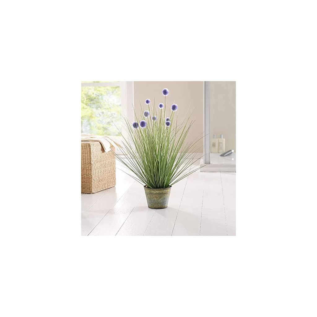 27.5 in. Tall Artificial Onion Grass Plant with Purple Pompom Flowers and Metal Pot Product SKU: HD222560