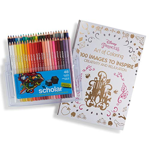 Prismacolor Scholar Colored Pencils, 48 Pack and Adult Coloring Book (Art of Coloring: Disney -