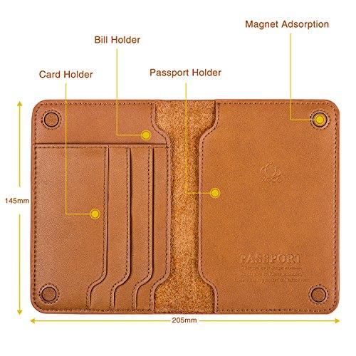XGUO Passport Holder Case Wallet,Multifunctional Genuine Leather RFID Blocking Passport Holder Cover and Travel Wallet Case (Brown)