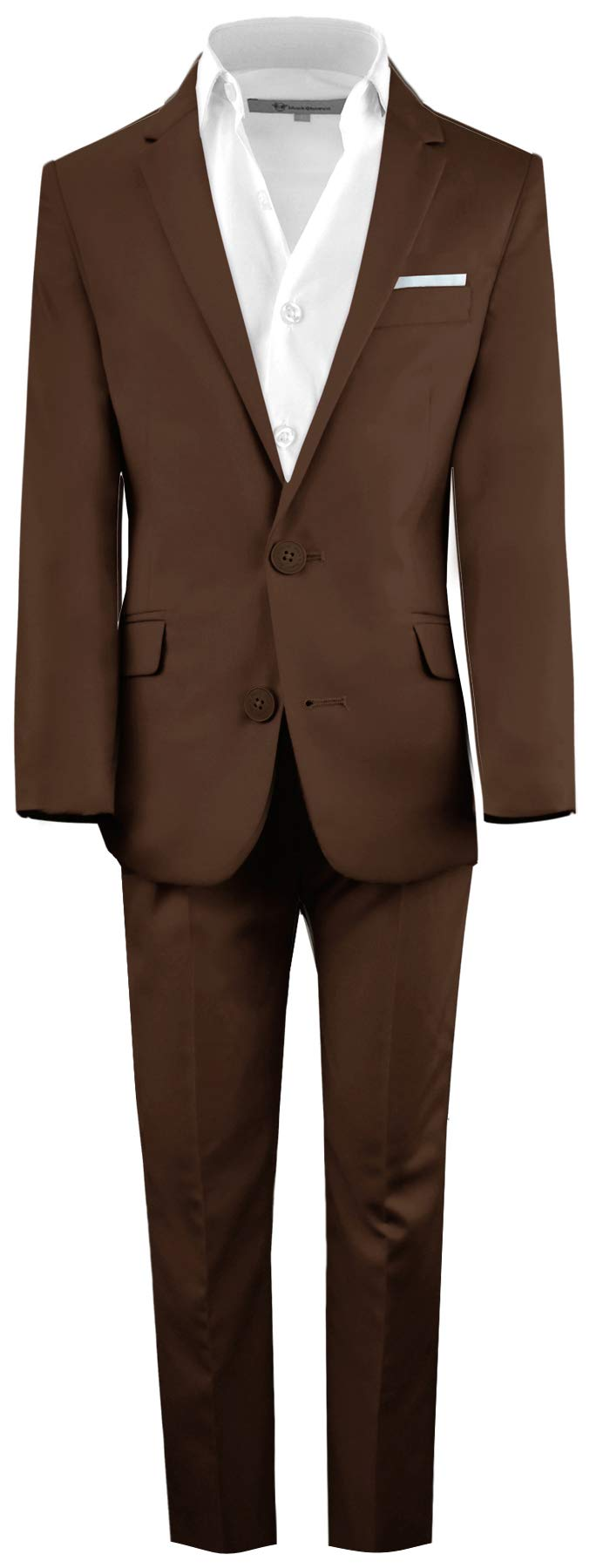 Black n Bianco Boys' First Class Slim Fit Suits Lightweight Style. Presented by Baby Muffin (10, Coco Brown)