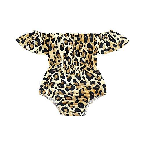 (Sassy Little Sunflower Leopard Flutter Romper Brown)