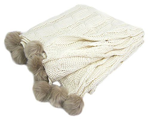Cable Knit Throw Blanket Faux Fur Pom Pom Edge Throw Cozy Blanket, Taupe or Ivory (Ivory)