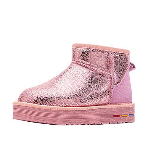 Støvler Skinnende 5839 Snø Lær Rosa Utskrift Kvinners Hooh RwEqXc