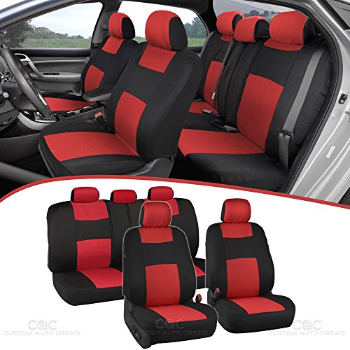 BDK PolyCloth Black/Red Car Seat Covers - EasyWrap Two-Tone Accent Interior Protection for Auto