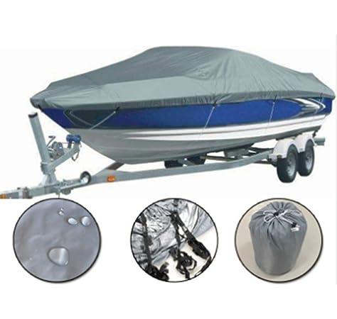 KKmoon Funda Barco Funda de Lancha Motora Impermeable 11-13FT 300D Oxford Tela para V-HULL TRI-HULL Runabouts y Botes Bajos