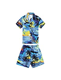 Boy Hawaiian Aloha Luau Shirt and Shorts 2 Piece Cabana Set in Blue Sunset