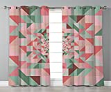 iPrint Stylish Window Curtains,Retro,Unusual Art Composition of Geometrical Shapes Triangles Pastel Color Pattern,Green Pink Coral,2 Panel Set Window Drapes,for Living Room Bedroom Kitchen Cafe For Sale
